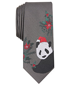 Bar III Men's Santa Panda Skinny Tie, Created for Macy's