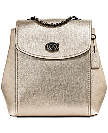 COACH Metallic Parker Convertible Backpack in Pebble Leather