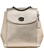 COACH Metallic Parker Convertible Backpack in Pebble Leather 62517ce4b9484
