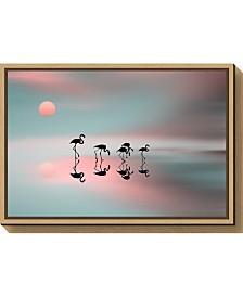 Amanti Art Family flamingos by Natalia Baras Canvas Framed Art