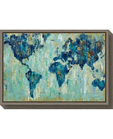 Map of the World by Silvia Vassileva Canvas Framed Art