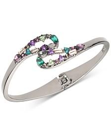 Carolee Hematite-Tone Multi-Crystal Bangle Bracelet