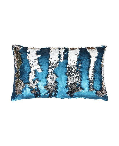"THRO Melody Mermaid Reversed To Shiny Metallic Faux Linen Pillow, 20"" x 12"""