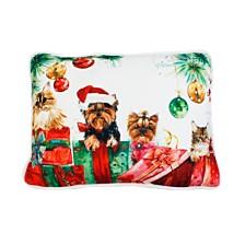 "Polyester Fill Animal Christmas Surprise Print Sequined Mandee Velvet Pillow, 14"" x 18"""