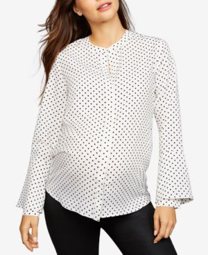 Image of A Pea in the Pod Maternity Bell-Sleeve Printed Shirt