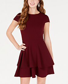 B Darlin Juniors' Ruffled Bow-Back Fit & Flare Dress