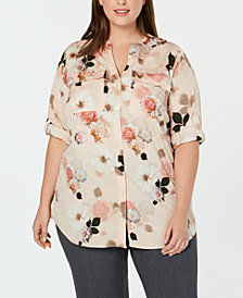 Calvin Klein Plus Size Printed Roll-Tab Top