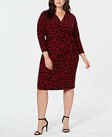 Anne Klein Plus Size Animal Print Twist Dress