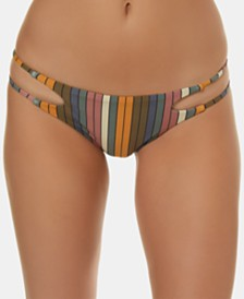 O'Neill Juniors' Lora Striped Strappy Cheeky Bikini Bottoms
