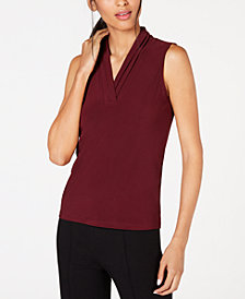 Anne Klein Pleated-Neckline Sleeveless Blouse