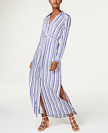 I.N.C. Striped Maxi Shirtdress, Created for Macy's