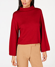 Anne Klein Mock-Neck Wide-Sleeve Sweater