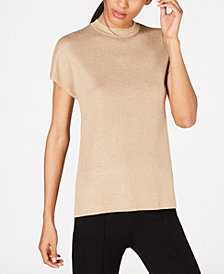 Anne Klein Mock-Neck Metallic-Threaded Sweater