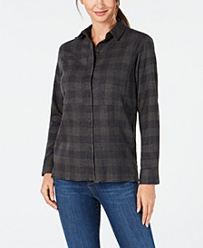 Juniors' Plaid Frayed-Hem Shirt