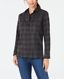 Hurley Juniors' Plaid Frayed-Hem Shirt