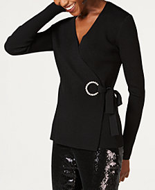 I.N.C. Embellished-Grommet Wrap Sweater, Created for Macy's