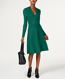 I.N.C. Surplice Fit & Flare Sweater Dress, Created for Macy's