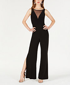 Morgan & Company Juniors' Illusion-Neck Jersey Jumpsuit