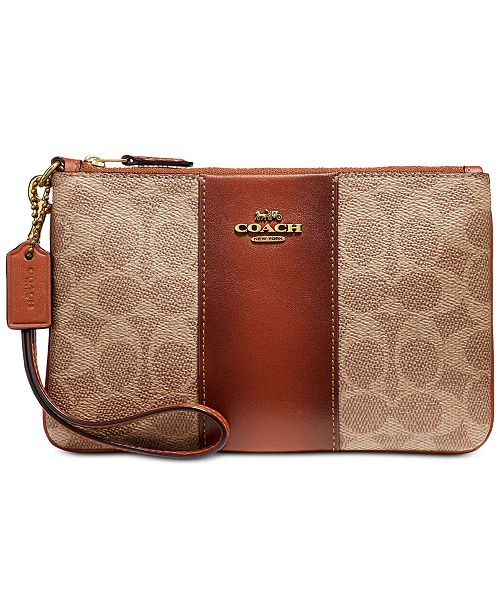 COACH Colorblock Coated Canvas Signature Wristlet