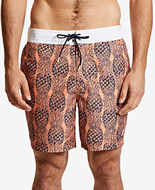 Nautica Mens Pineapple Print Swim Trunks
