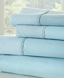 Home Collection Premium Checkered Embossed 4 Piece Bed Sheet Set, Twin