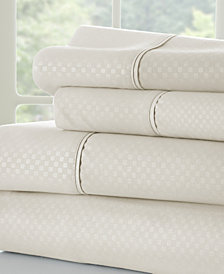 Home Collection Premium Checkered Embossed 4 Piece Bed Sheet Set, Queen