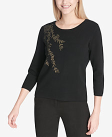 Calvin Klein Embellished 3/4-Sleeve Sweater