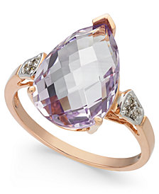 Pink Amethyst (5 ct. t.w.) & Diamond Accent Ring in 14k Rose Gold