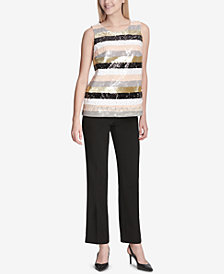 Calvin Klein Striped Sequined Top