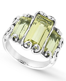 Lemon Quartz (6-3/4 ct. t.w.) Triple Faceted Rectangle Ring in Sterling Silver