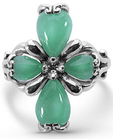 Carolyn Pollack Green Jade Cross Ring in Sterling Silver