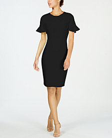 Calvin Klein Petal-Sleeve Sheath Dress