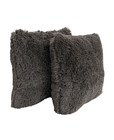 "20"" x 20"" Polyester Fill Chubby Faux Fur Pillow, Pack Of 2"