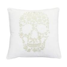 """Thro Polyester Fill Sammy Skull Metallic Embroidered Velvet Pillow, 18"""" x 18"""""""
