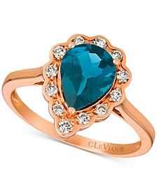 London Blue Topaz (1-5/8 ct. t.w.) & Diamond (1/4 ct. t.w.) Ring in 14k Rose Gold