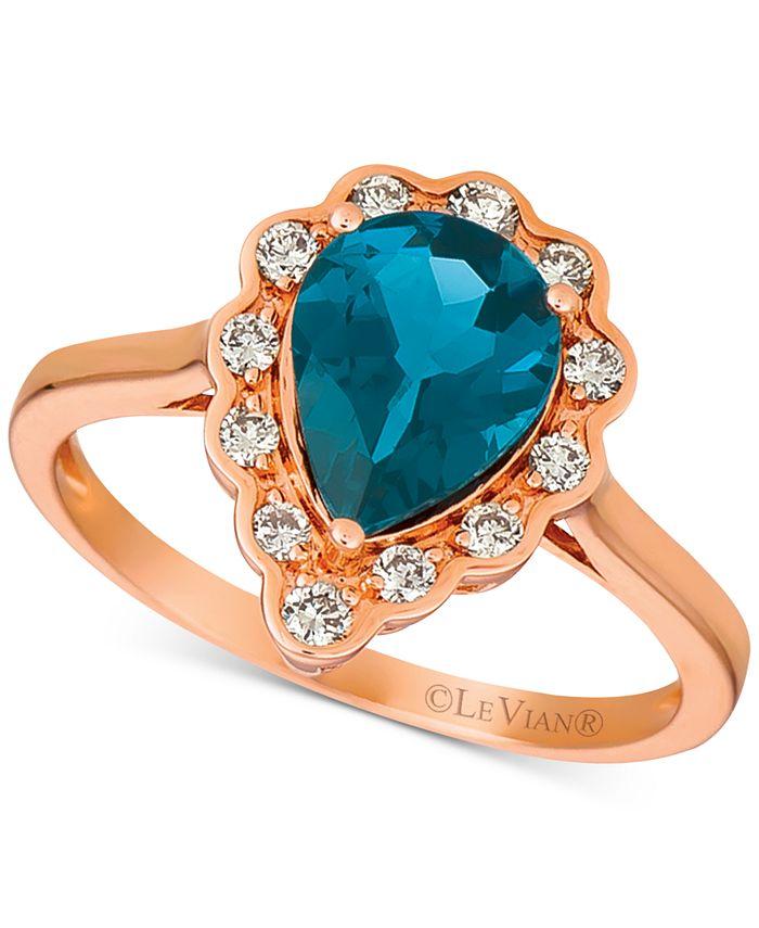 Le Vian - London Blue Topaz (1-5/8 ct. t.w.) & Diamond (1/4 ct. t.w.) Ring in 14k Rose Gold