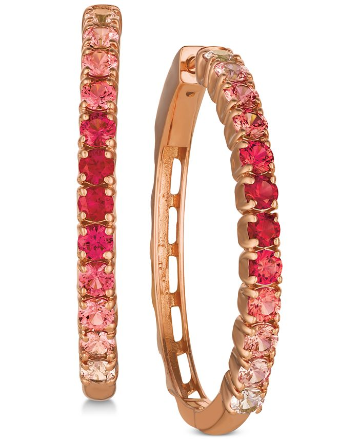 Le Vian - Pink Sapphire (1-1/3 ct. t.w.) & Ruby (5/8 ct. t.w.) Ombré Hoop Earrings in 14k Rose Gold