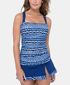 Profile by Gottex Printed D-Cup Tankini Top & Swim Skirt