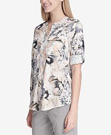 Calvin Klein Floral-Print Roll-Tab Blouse