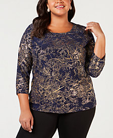 JM Collection Plus Size Textured Metallic Top, Created for Macy's