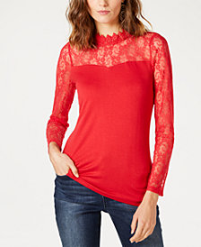 I.N.C. Lace-Yoke Top, Created for Macy's