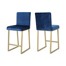 Toucanet Modern Velvet Barstools (Set of 2), Quick Ship