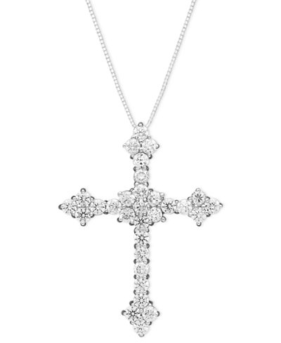 Diamond Flower Cross Pendant Necklace In 14k White Gold 1
