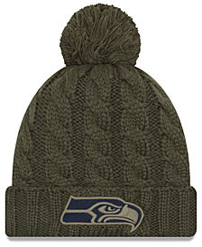 New Era Women's Seattle Seahawks Salute To Service Pom Knit Hat