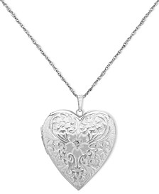4-Photo Engraved Heart Locket in Sterling Silver