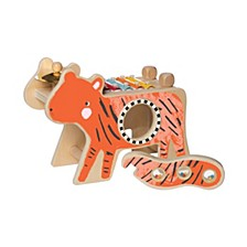 Manhattan Toy Musical Tiger Wooden Instrument With Xylophone, Drumsticks, Cymbal, And Maraca