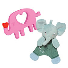 Manhattan Toy Safari Elephant Lovie And Silicone Teether Baby Soothing Set