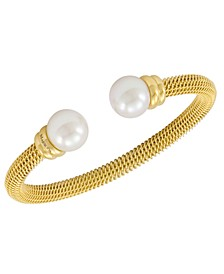 Bracelet, Organic Man Made Pearl and Gold-Tone Stainless Steel Bangle Bracelet