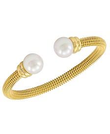 Majorica Bracelet, Organic Man Made Pearl and Gold-Tone Stainless Steel Bangle Bracelet