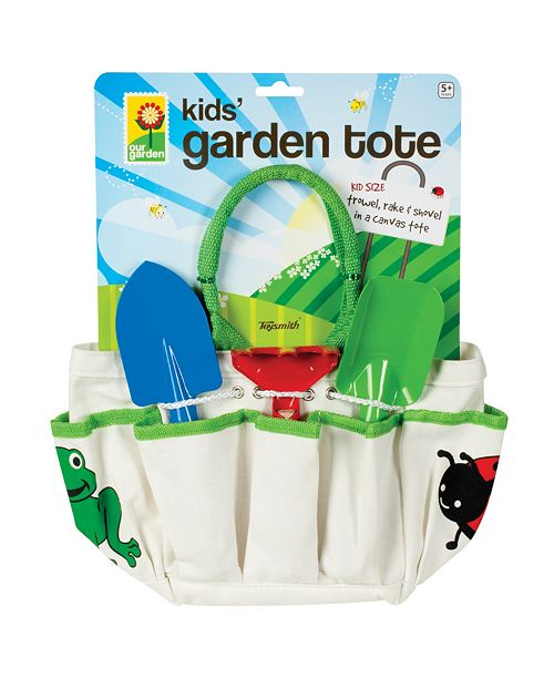 Toysmith Kids Garden Tote With Trowel, Rake And Shovel